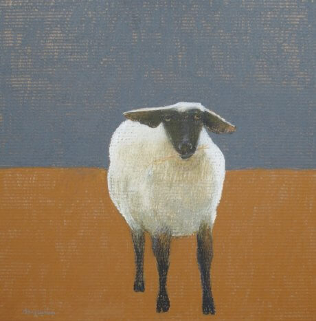 Oil Pastel of a black faced sheep