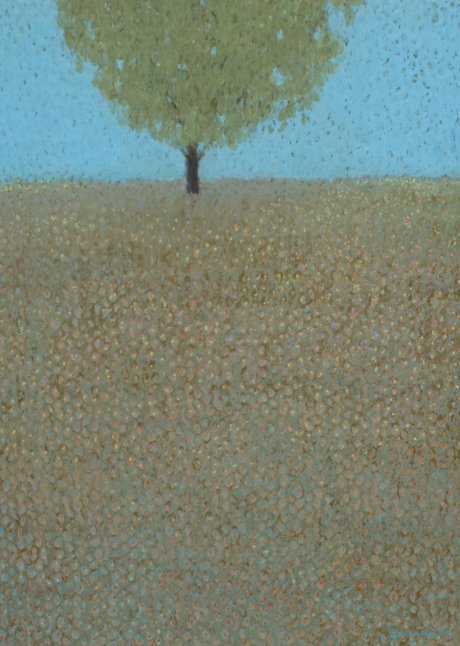 Oil Pastel of Tree in the Middle of a Field