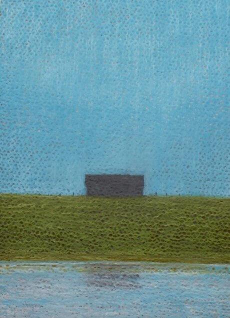 Oil Pastel of a Barn in a field