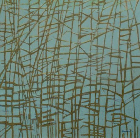 Oil Pastel of Grasses against a Blue Sky