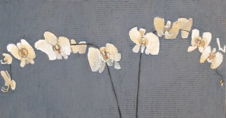 Oil Pastel of White Orchids on a grey background